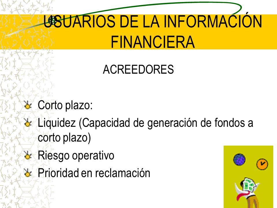 USUARIOS DE LA INFORMACIÓN FINANCIERA ACREEDORES Corto plazo: Liquidez (Capacidad de generación de fondos a corto plazo) Riesgo operativo Prioridad en
