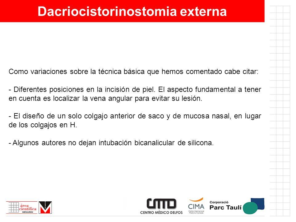 Dacriocistorinostomia externa Como variaciones sobre la técnica básica que hemos comentado cabe citar: - Diferentes posiciones en la incisión de piel.