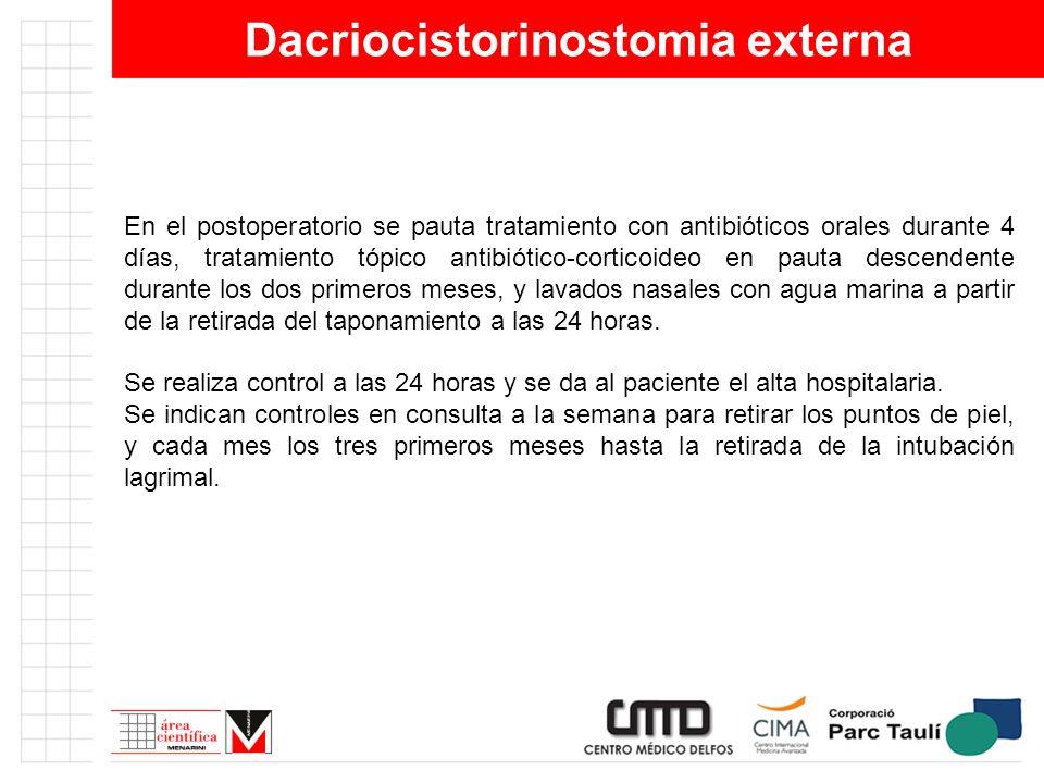 Dacriocistorinostomia externa En el postoperatorio se pauta tratamiento con antibióticos orales durante 4 días, tratamiento tópico antibiótico-cortico