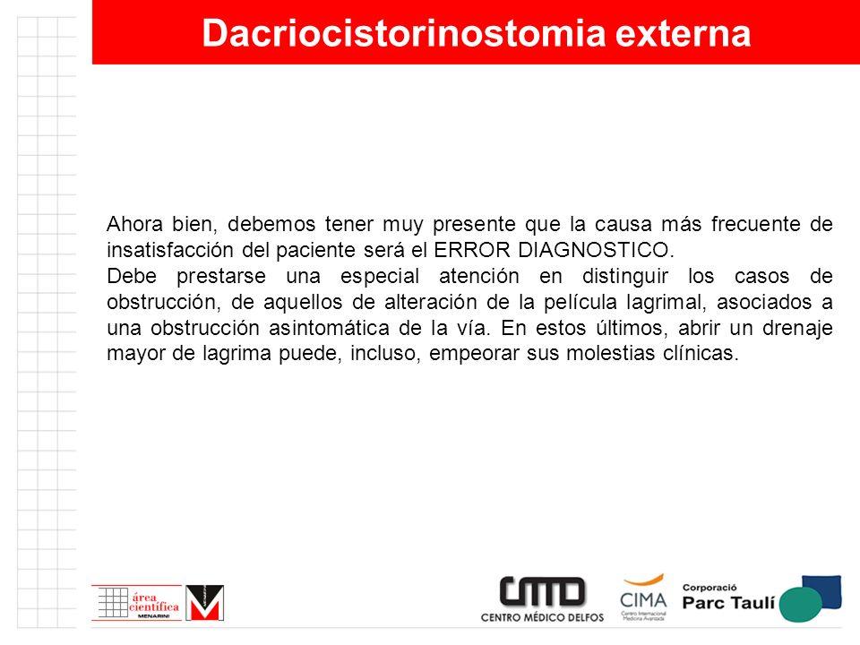 Dacriocistorinostomia externa Ahora bien, debemos tener muy presente que la causa más frecuente de insatisfacción del paciente será el ERROR DIAGNOSTI
