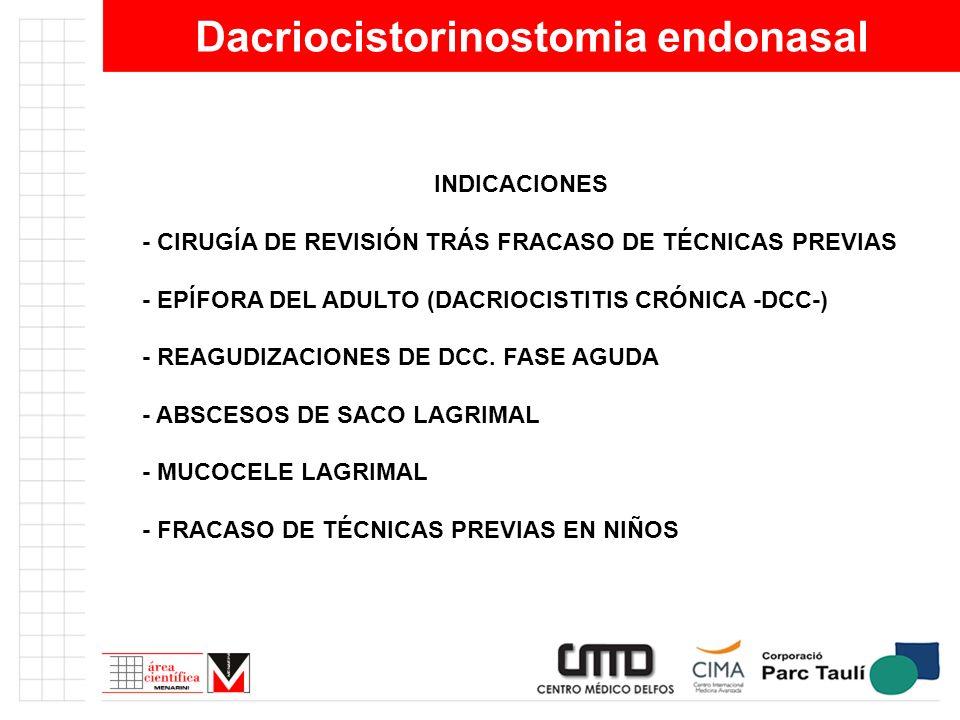 Dacriocistorinostomia endonasal INDICACIONES - CIRUGÍA DE REVISIÓN TRÁS FRACASO DE TÉCNICAS PREVIAS - EPÍFORA DEL ADULTO (DACRIOCISTITIS CRÓNICA -DCC-