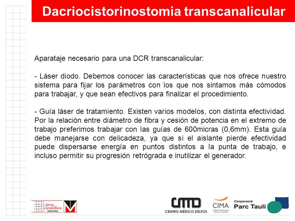 Dacriocistorinostomia transcanalicular Aparataje necesario para una DCR transcanalicular: - Láser diodo. Debemos conocer las características que nos o