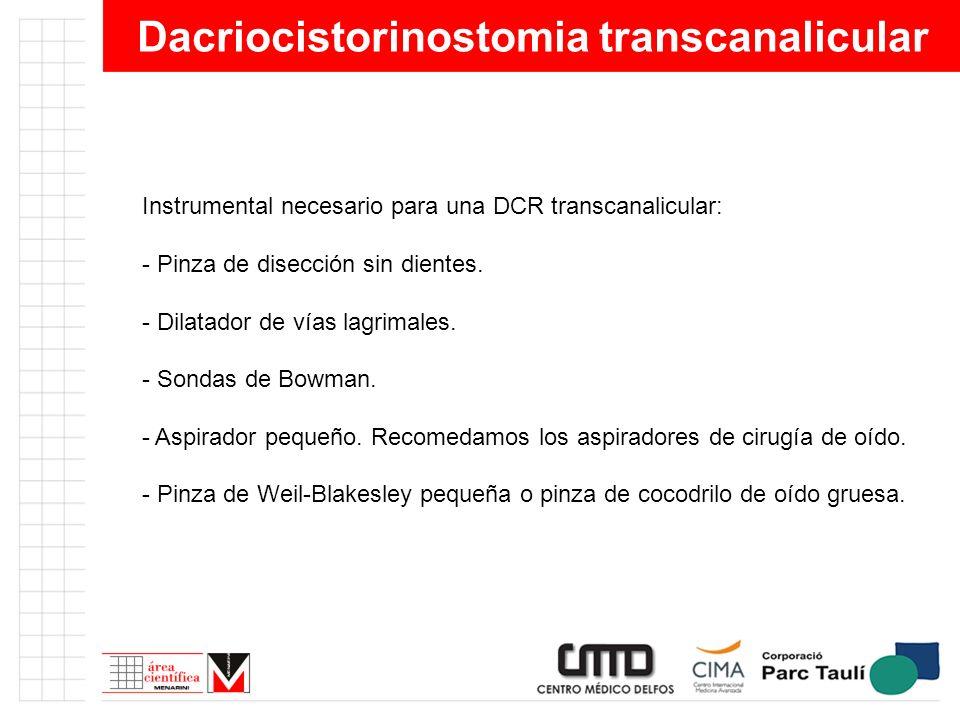 Dacriocistorinostomia transcanalicular Instrumental necesario para una DCR transcanalicular: - Pinza de disección sin dientes. - Dilatador de vías lag