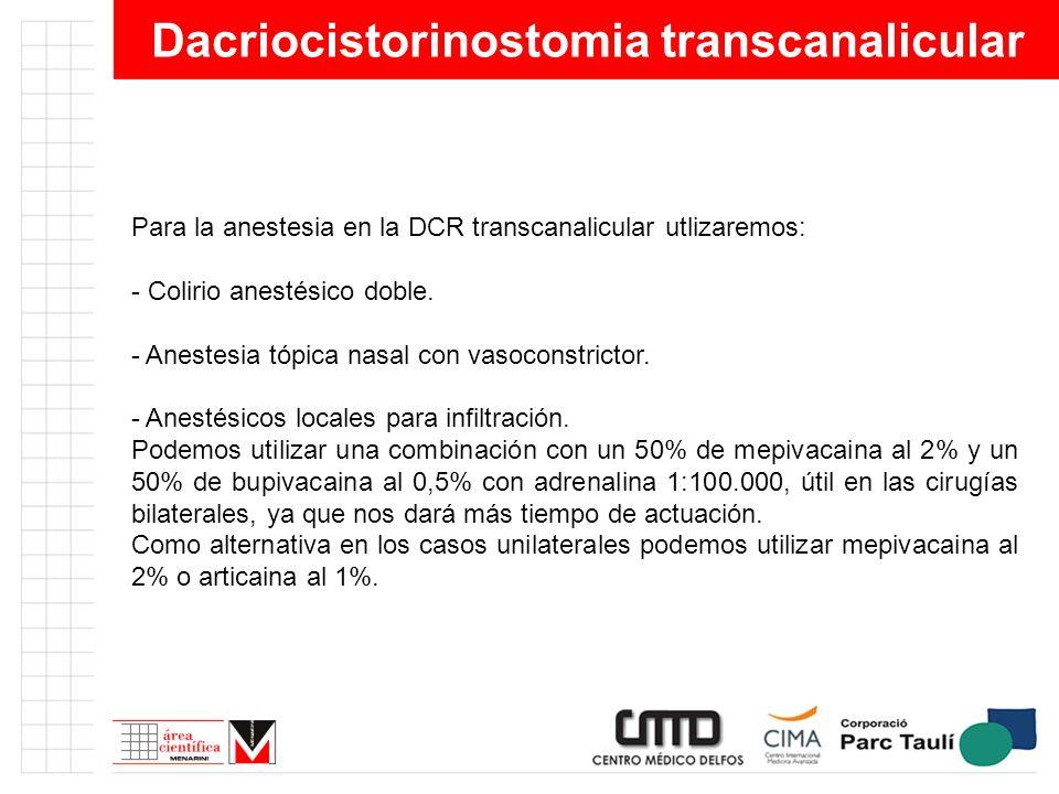 Dacriocistorinostomia transcanalicular Para la anestesia en la DCR transcanalicular utlizaremos: - Colirio anestésico doble. - Anestesia tópica nasal