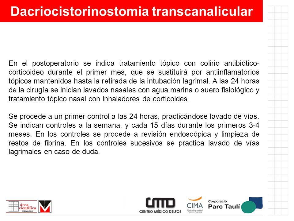 Dacriocistorinostomia transcanalicular En el postoperatorio se indica tratamiento tópico con colirio antibiótico- corticoideo durante el primer mes, q