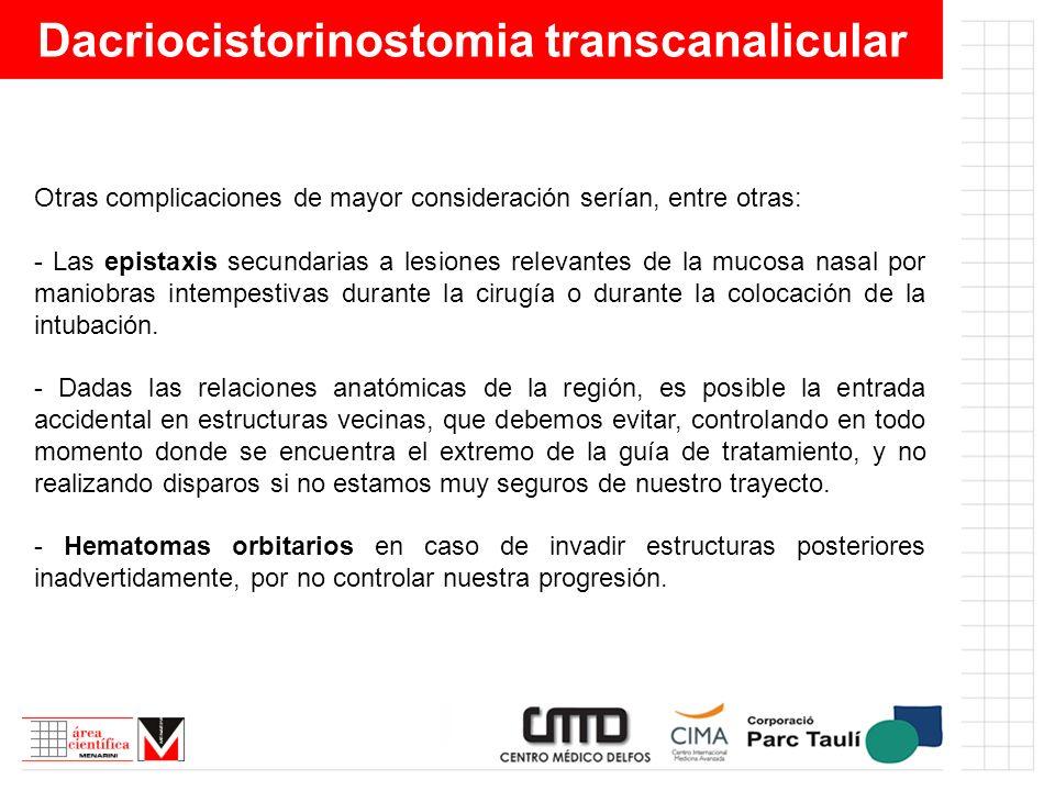 Dacriocistorinostomia transcanalicular Otras complicaciones de mayor consideración serían, entre otras: - Las epistaxis secundarias a lesiones relevan