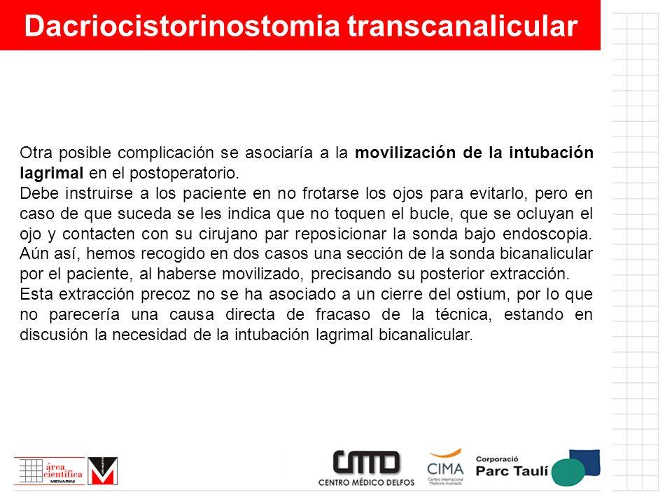 Dacriocistorinostomia transcanalicular Otra posible complicación se asociaría a la movilización de la intubación lagrimal en el postoperatorio. Debe i