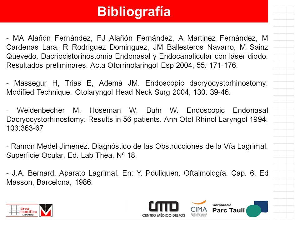 Bibliografía - MA Alañon Fernández, FJ Alañón Fernández, A Martinez Fernández, M Cardenas Lara, R Rodriguez Dominguez, JM Ballesteros Navarro, M Sainz