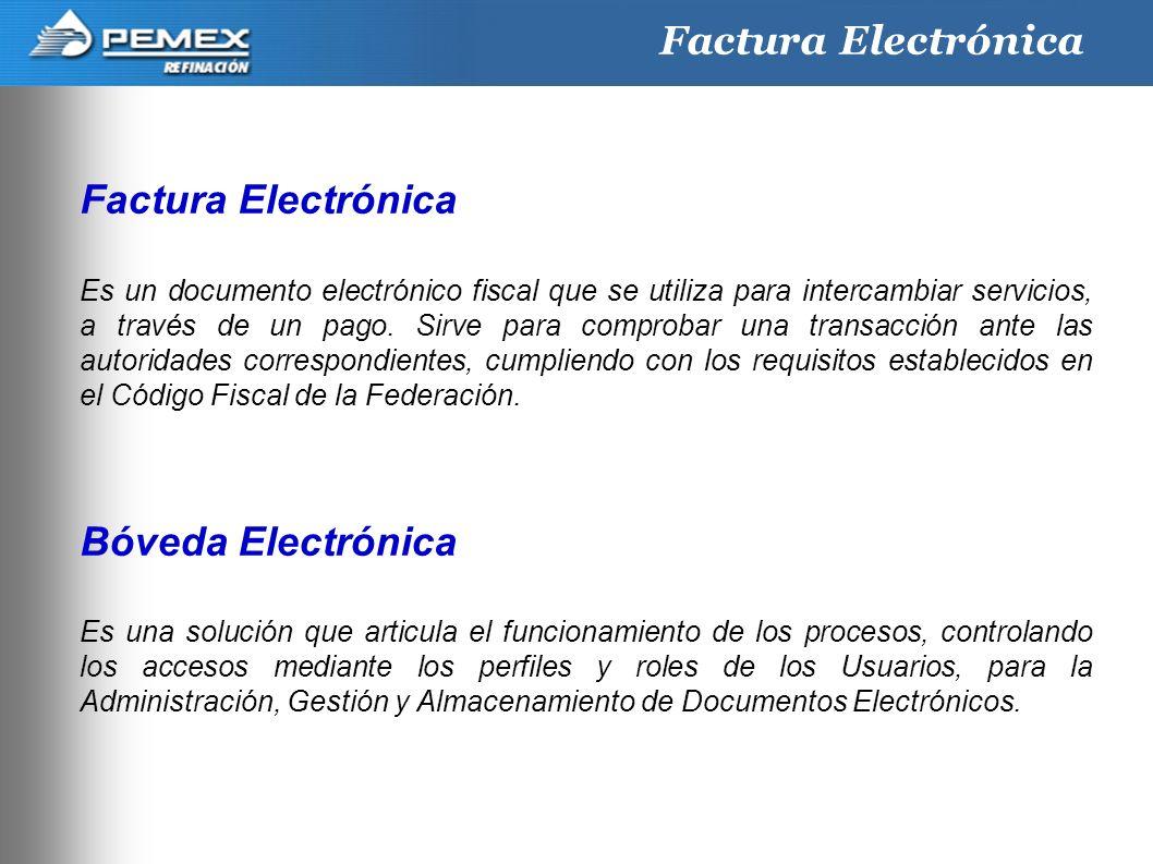 3 Factura Electrónica Es un documento electrónico fiscal que se utiliza para intercambiar servicios, a través de un pago. Sirve para comprobar una tra