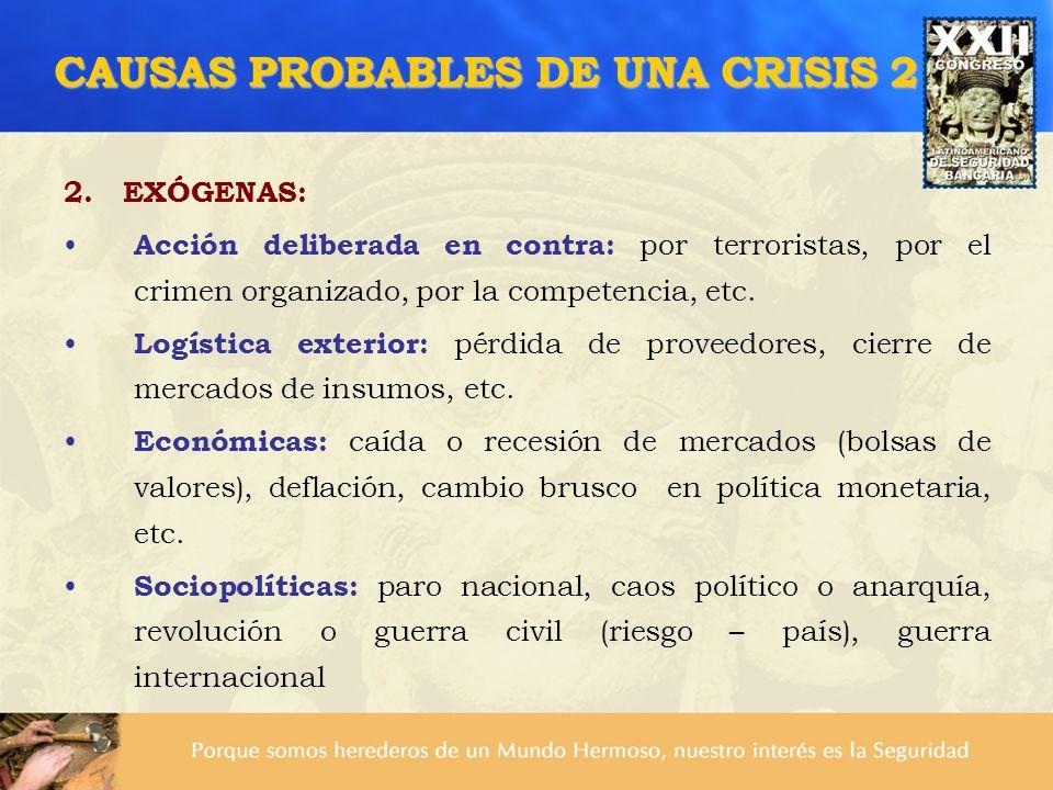 CAUSAS PROBABLES DE UNA CRISIS 2 2. EXÓGENAS: Acción deliberada en contra: por terroristas, por el crimen organizado, por la competencia, etc. Logísti