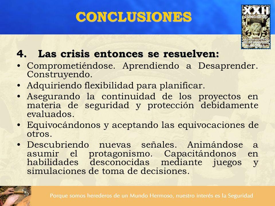 4. Las crisis entonces se resuelven: Comprometiéndose. Aprendiendo a Desaprender. Construyendo. Adquiriendo flexibilidad para planificar. Asegurando l