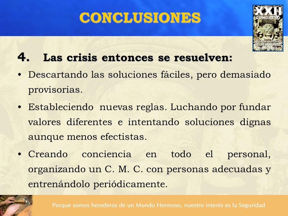 4. Las crisis entonces se resuelven: Descartando las soluciones fáciles, pero demasiado provisorias. Estableciendo nuevas reglas. Luchando por fundar