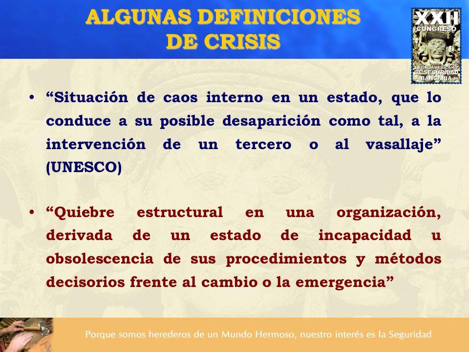 Situación de caos interno en un estado, que lo conduce a su posible desaparición como tal, a la intervención de un tercero o al vasallaje (UNESCO) Qui