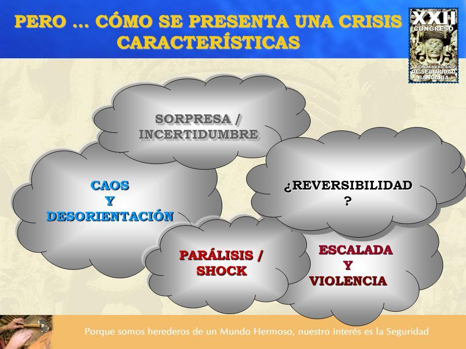 CAOSYDESORIENTACIÓN PERO … CÓMO SE PRESENTA UNA CRISIS CARACTERÍSTICAS SORPRESA / INCERTIDUMBRE INCERTIDUMBRE ESCALADA YVIOLENCIA PARÁLISIS / SHOCK ¿R