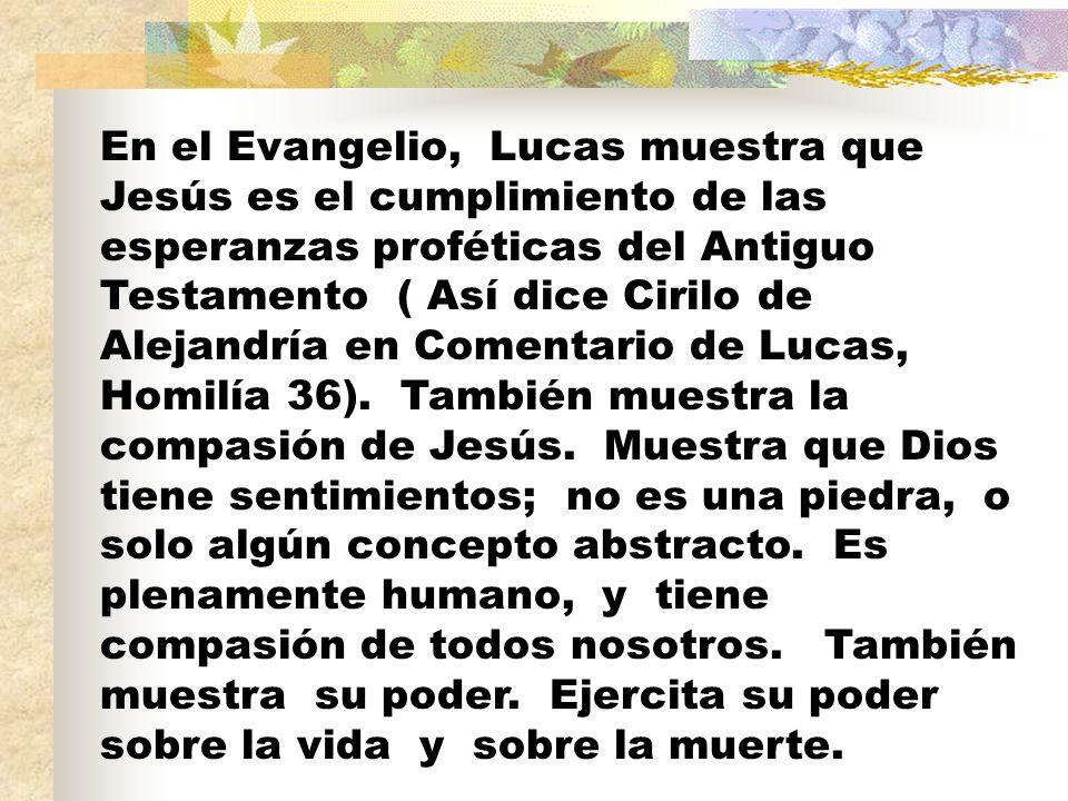 En el Evangelio, Lucas muestra que Jesús es el cumplimiento de las esperanzas proféticas del Antiguo Testamento ( Así dice Cirilo de Alejandría en Comentario de Lucas, Homilía 36).