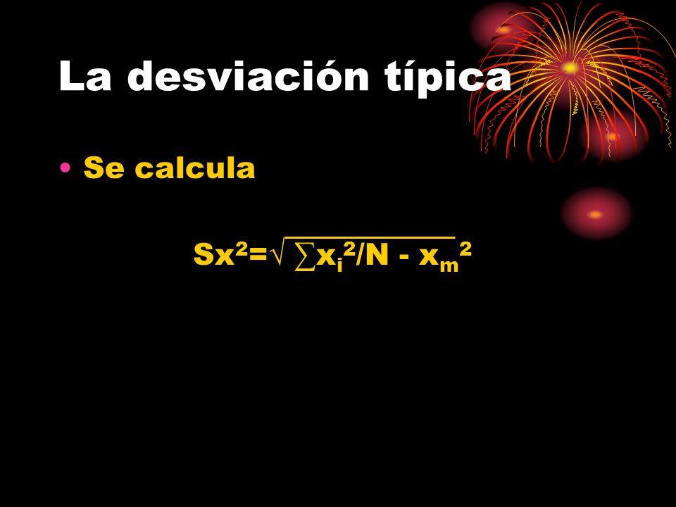 La desviación típica Se calcula Sx 2 = x i 2 /N - x m 2