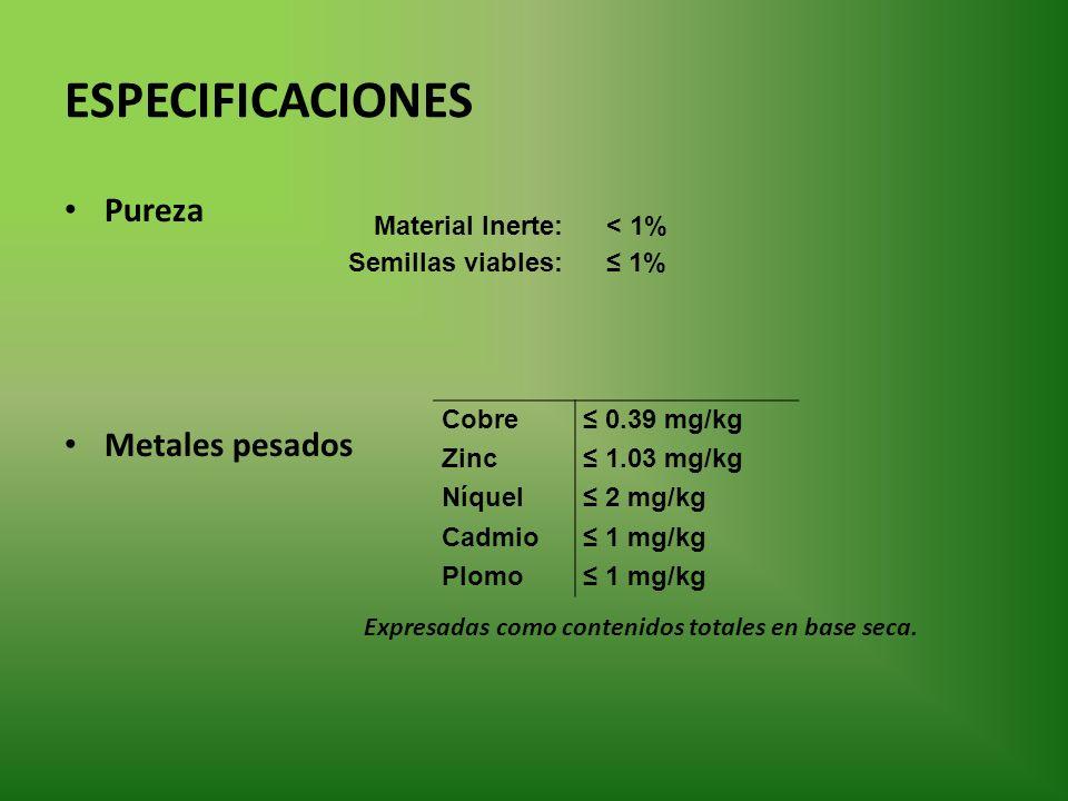 ESPECIFICACIONES Pureza Metales pesados Expresadas como contenidos totales en base seca. Material Inerte:< 1% Semillas viables: 1% Cobre 0.39 mg/kg Zi