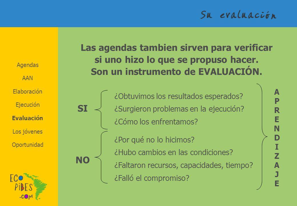 Agendas AAN Elaboración Los jóvenes Evaluación Ejecución Oportunidad Las agendas tambien sirven para verificar si uno hizo lo que se propuso hacer. So