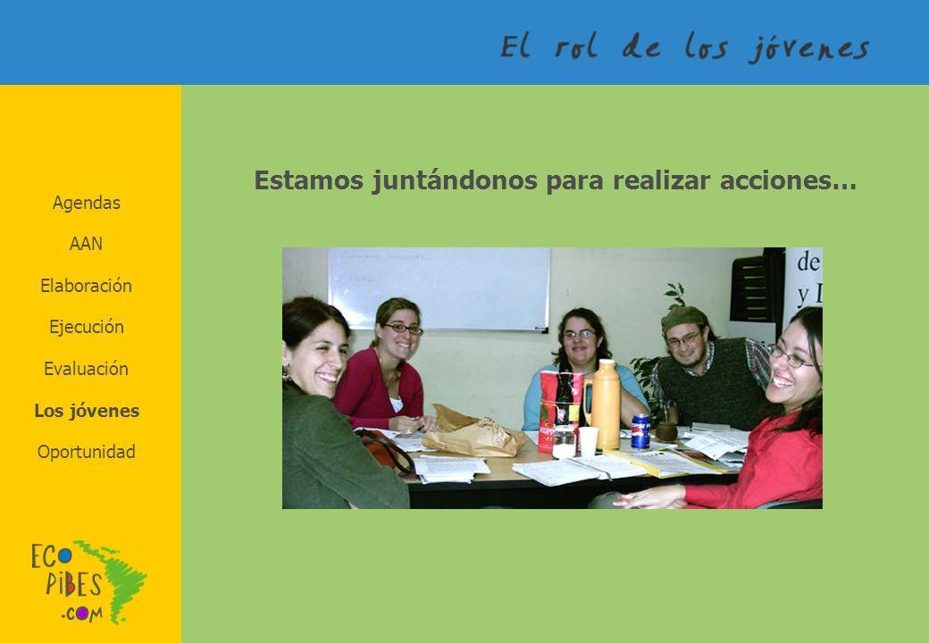 Agendas AAN Elaboración Los jóvenes Evaluación Ejecución Oportunidad Estamos juntándonos para realizar acciones…