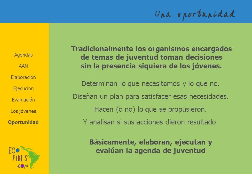 Agendas AAN Elaboración Los jóvenes Evaluación Ejecución Oportunidad Tradicionalmente los organismos encargados de temas de juventud toman decisiones