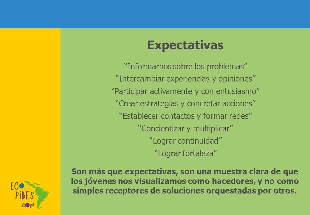 Expectativas Informarnos sobre los problemas Intercambiar experiencias y opiniones Participar activamente y con entusiasmo Crear estrategias y concret
