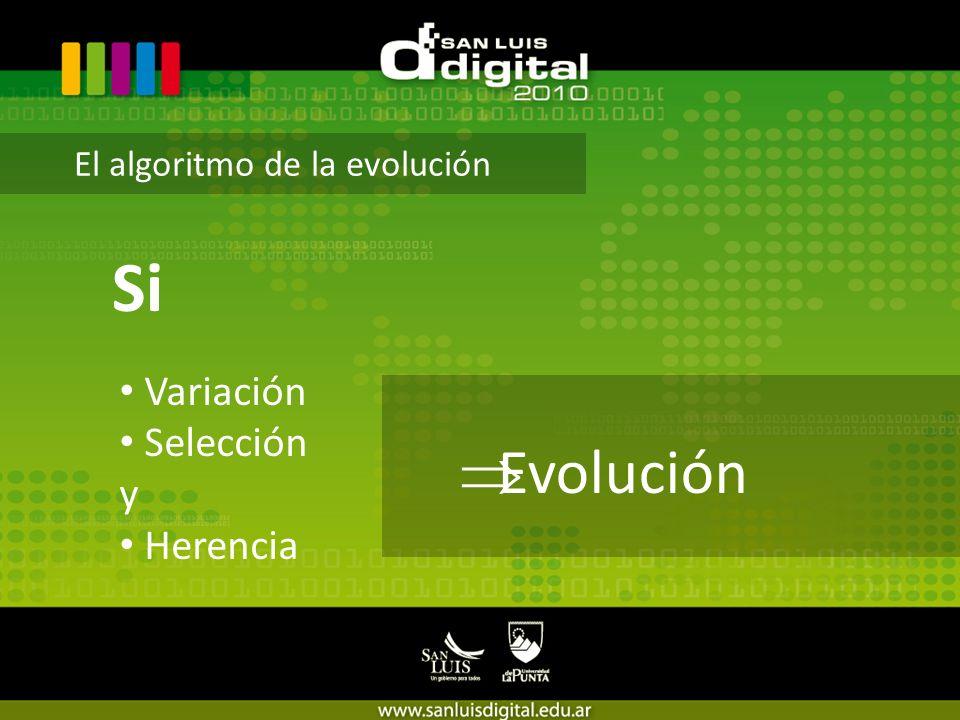 El algoritmo de la evolución Si Evolución Variación Selección y Herencia