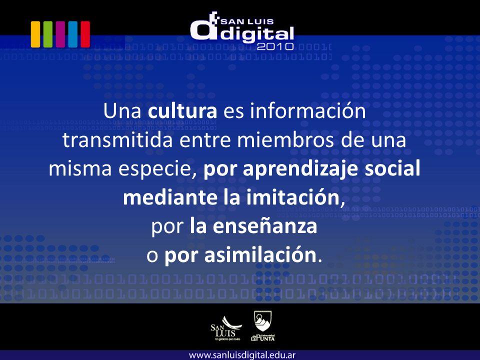 Una cultura es información transmitida entre miembros de una misma especie, por aprendizaje social mediante la imitación, por la enseñanza o por asimilación.