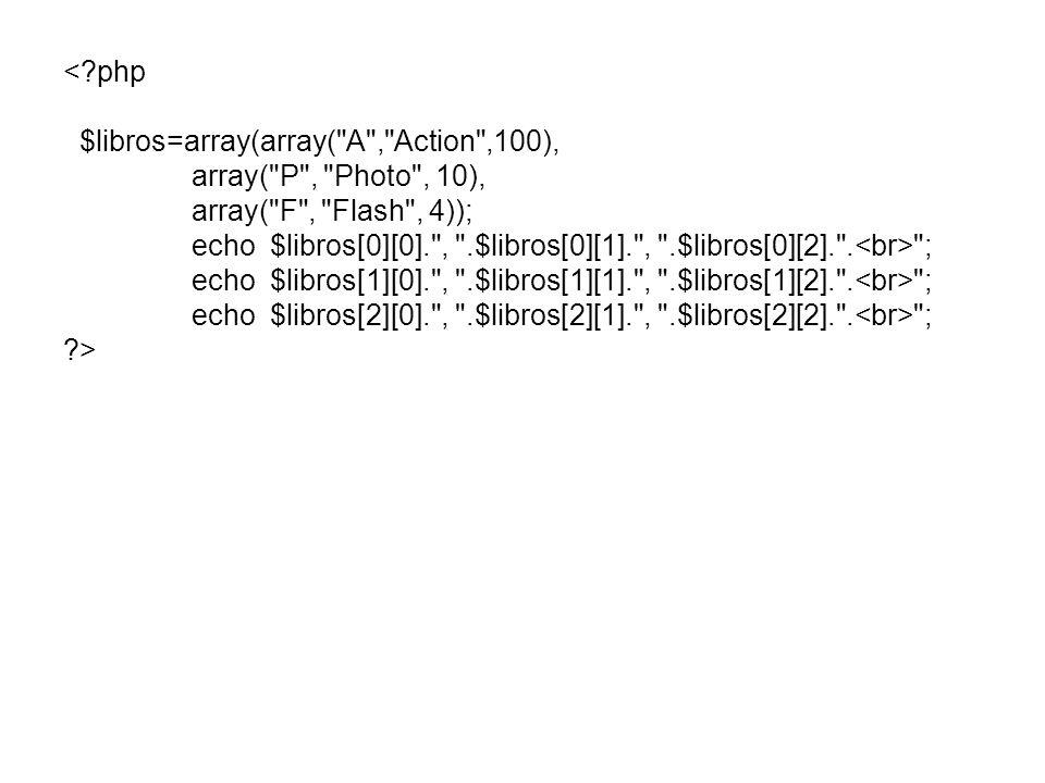 <?php $libros=array(array( A , Action ,100), array( P , Photo , 10), array( F , Flash , 4)); echo $libros[0][0]. , .$libros[0][1]. , .$libros[0][2]. .