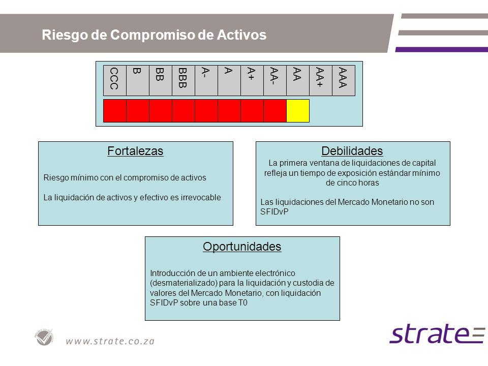 CCCBBBBBBA-AA+AA-AAAA+AAA Riesgo de Compromiso de Activos Fortalezas Riesgo mínimo con el compromiso de activos La liquidación de activos y efectivo e