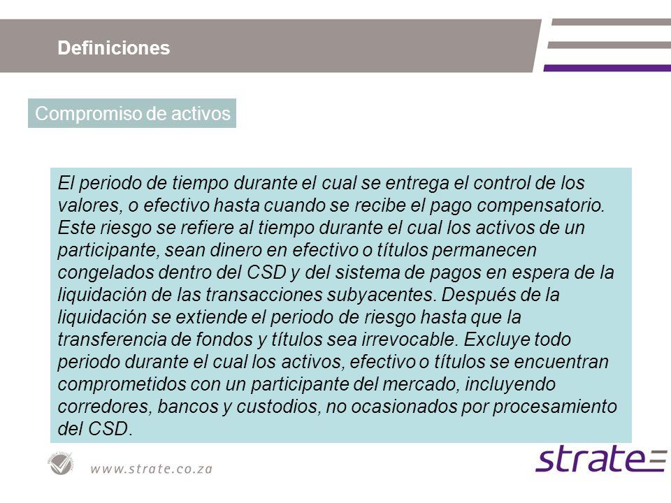Definiciones Compromiso de activos El periodo de tiempo durante el cual se entrega el control de los valores, o efectivo hasta cuando se recibe el pag