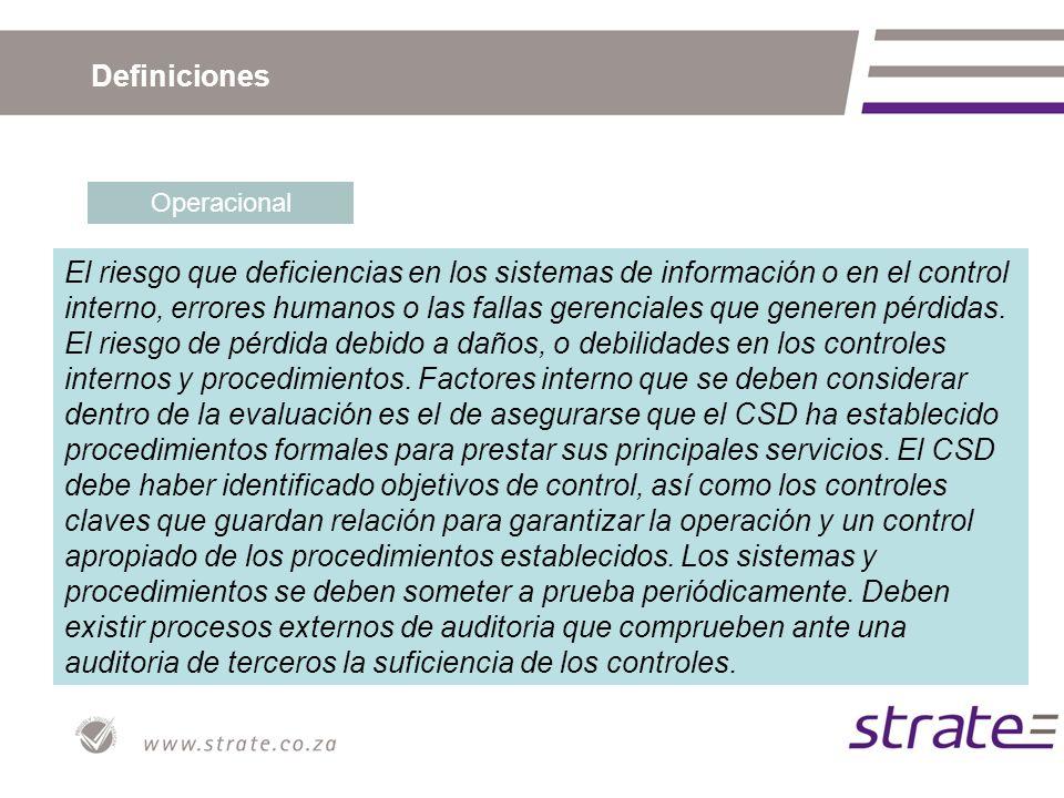 Definiciones Operacional El riesgo que deficiencias en los sistemas de información o en el control interno, errores humanos o las fallas gerenciales que generen pérdidas.