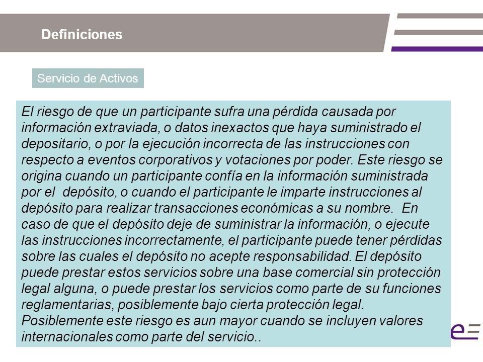 Definiciones Servicio de Activos El riesgo de que un participante sufra una pérdida causada por información extraviada, o datos inexactos que haya sum