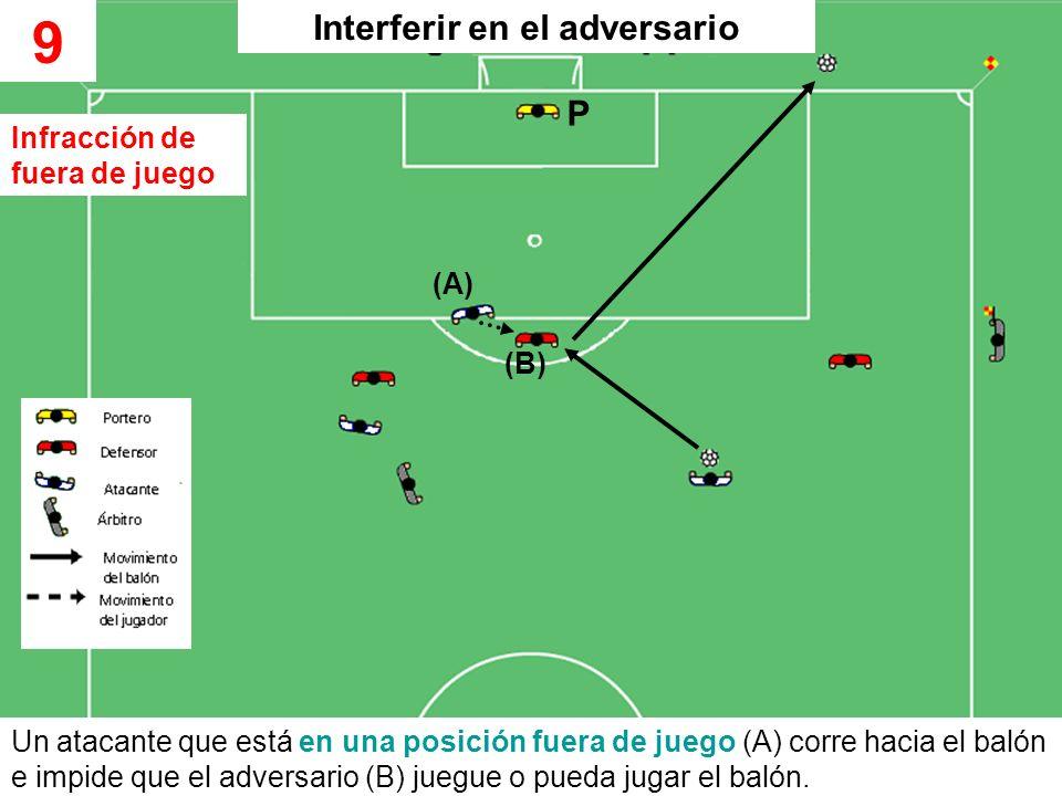 Un atacante que está en una posición fuera de juego (A) corre hacia el balón e impide que el adversario (B) juegue o pueda jugar el balón. 9 (A) (B) I