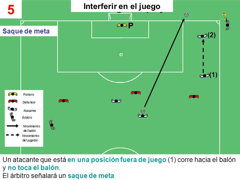 Un atacante que está en una posición fuera de juego (1) corre hacia el balón y no toca el balón. El árbitro señalará un saque de meta 5 Saque de meta