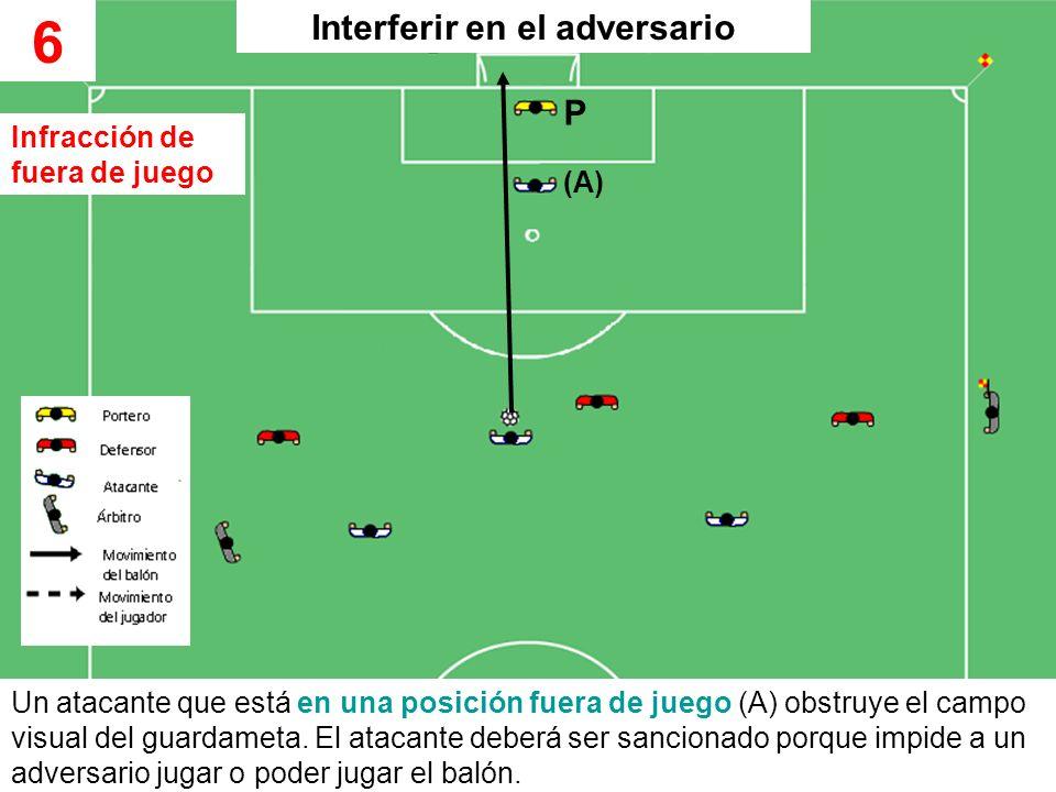 Un atacante que está en una posición fuera de juego (A) obstruye el campo visual del guardameta. El atacante deberá ser sancionado porque impide a un