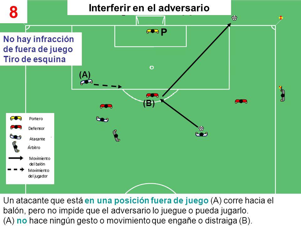 Un atacante que está en una posición fuera de juego (A) corre hacia el balón, pero no impide que el adversario lo juegue o pueda jugarlo. (A) no hace