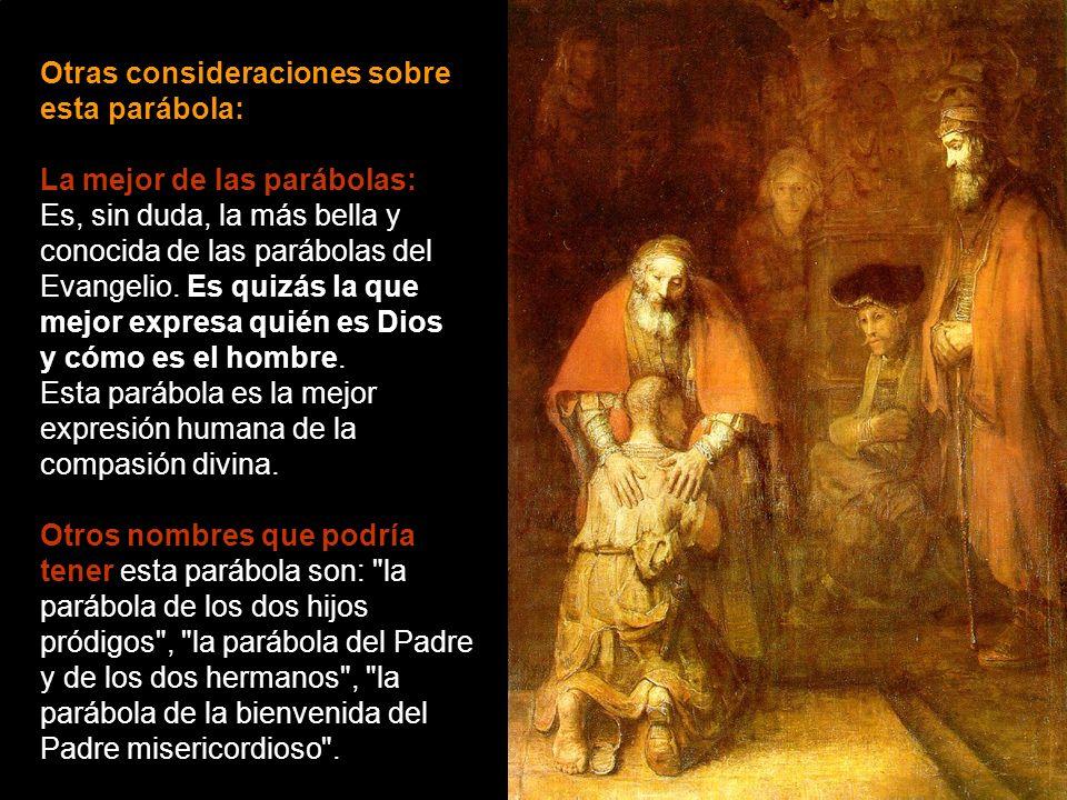 Simbolismo e interpelación: El cuadro nos interpela acerca de nuestra propia vida cristiana en clave de: hijo menor -¡tantas idas y venidas!, ¡tanto b