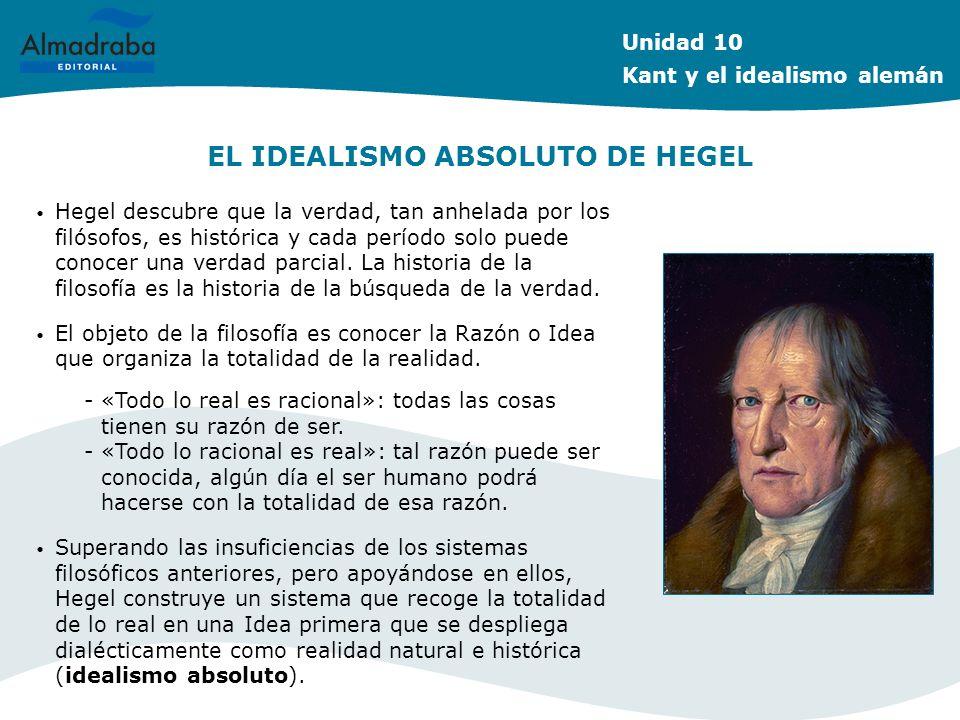 EL IDEALISMO ABSOLUTO DE HEGEL Hegel descubre que la verdad, tan anhelada por los filósofos, es histórica y cada período solo puede conocer una verdad