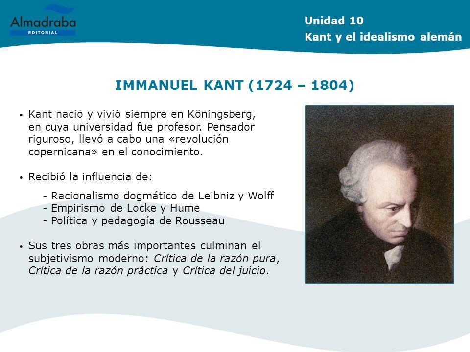 IMMANUEL KANT (1724 – 1804) Kant nació y vivió siempre en Köningsberg, en cuya universidad fue profesor. Pensador riguroso, llevó a cabo una «revoluci