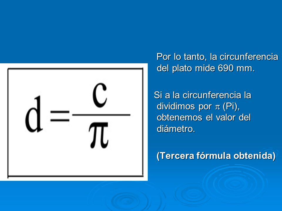 Por la experiencia anterior sabemos que el diámetro está contenido en la circunferencia un poco más de tres veces (Pi) y como ya conocemos la fórmula