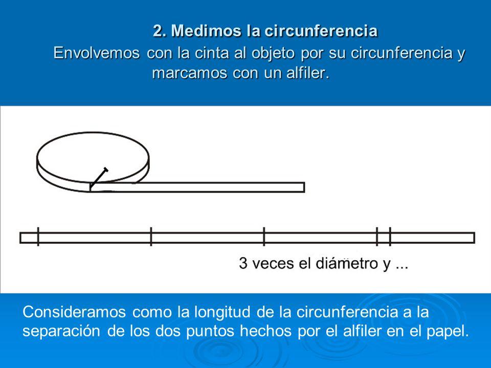 CONSTRUYENDO LA NOCIÓN 1. Medimos el diámetro. Para mayor precisión utilizamos la regla milimetrada y las escuadras (la primera fija, la segunda móvil