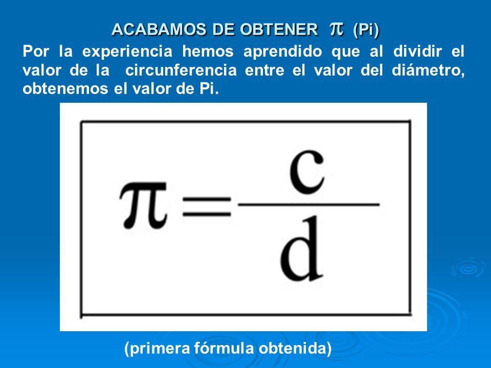 El promedio general de dividir las circunferencias entre sus respectivos diámetros nos da un valor muy cercano a 3,14... (que es el valor de Pi). ¿Est