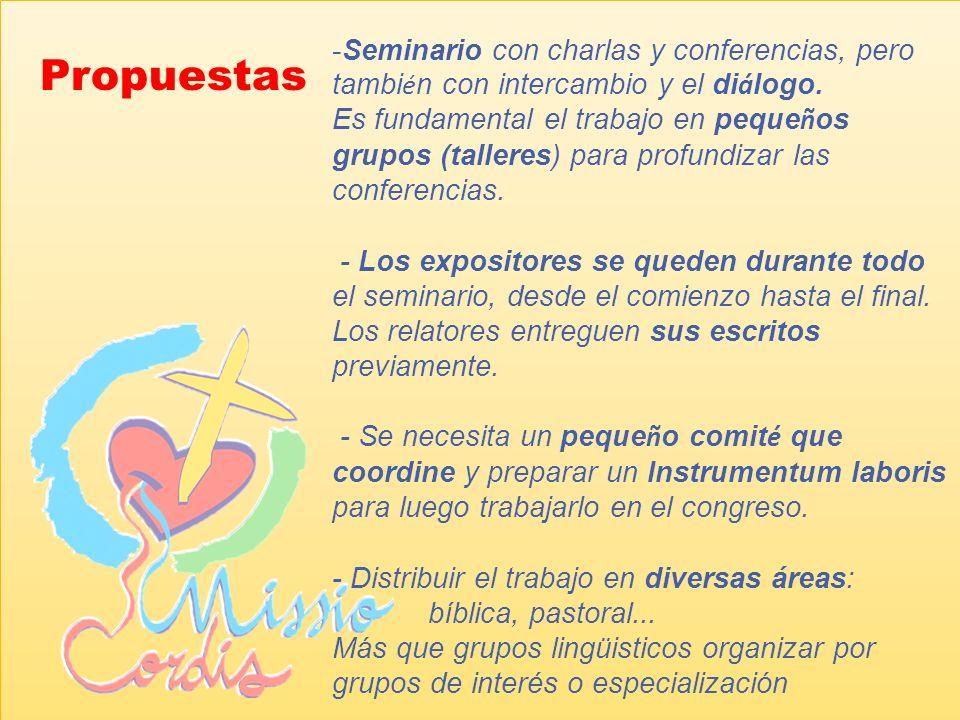 Este seminario toma el título de Missio cordis a partir de otro seminario celebrado entre el 9 y 14 de marzo de 2008, en Alfragide (Portugal), con el