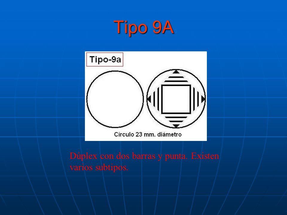 Tipo 9A Dúplex con dos barras y punta. Existen varios subtipos.
