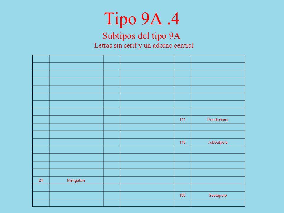 Tipo 9A.4 Subtipos del tipo 9A Letras sin serif y un adorno central 111Pondicherry 118Jubbulpore 24Mangalore 180Seetapore