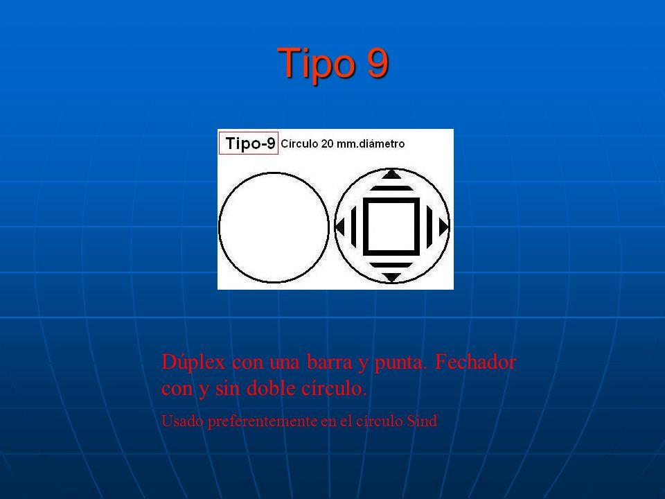 Tipo 9 Dúplex con una barra y punta. Fechador con y sin doble círculo.