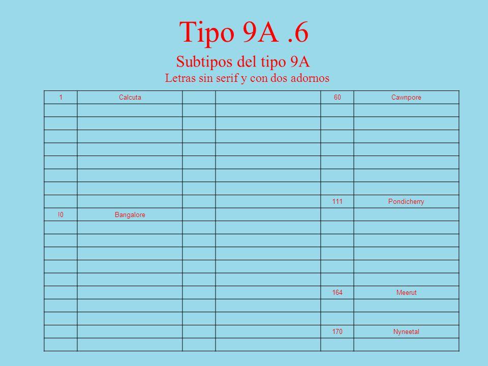 Tipo 9A.6 Subtipos del tipo 9A Letras sin serif y con dos adornos 1Calcuta 60Cawnpore 111Pondicherry !0Bangalore 164Meerut 170Nyneetal
