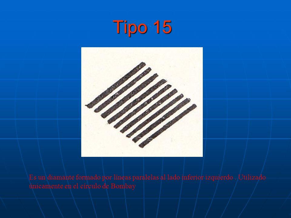 Tipo 15 Es un diamante formado por líneas paralelas al lado inferior izquierdo.