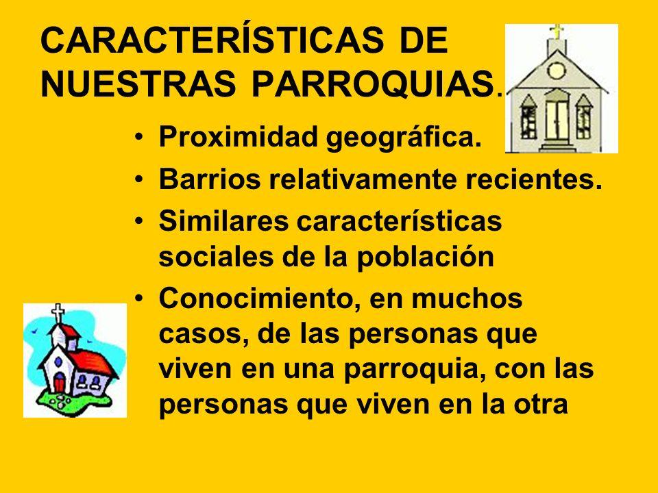 CARACTERÍSTICAS DE NUESTRAS PARROQUIAS. Proximidad geográfica. Barrios relativamente recientes. Similares características sociales de la población Con