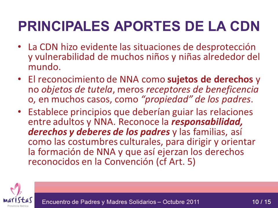 Encuentro de Padres y Madres Solidarios – Octubre 2011 PRINCIPALES APORTES DE LA CDN La CDN hizo evidente las situaciones de desprotección y vulnerabi